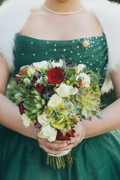 What is it about red hair and green dresses that is just so delicious? When I saw Clare's emerald-green, tea-length wedding dress, I wanted to know aaaalll the details. She and Ian got married in T...