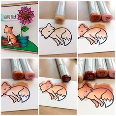 Tutorial on how I colored my Lawn Fawn Fox for the Animal Antics challenge. September 2013