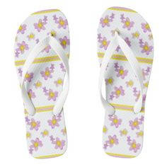 Stripped Spring Bouquet Flip Flops - purple floral style gifts flower flowers diy customize unique