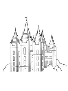 Coloring pages for kids! Conference Activities. An illustration of the Salt Lake Temple.