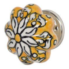 Ceramic Doorknob - Yellow Flower