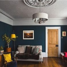 The living room color schemes to give the impression of more colorful living. Find pretty living room color scheme ideas that speak your personality. Dark Living Rooms, Living Room Paint, New Living Room, Home And Living, Living Room Decor, Red Dining Rooms, Dark Wooden Floor Living Room, Small Living, Dado Rail Living Room