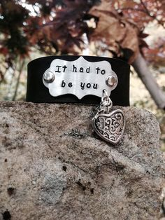 It Had To Be You Leather Cuff Aluminum Plate Hand-Stamped on Etsy, $30.00