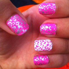 Pink Cheetah nails :) yes! Get Nails, Love Nails, How To Do Nails, Pretty Nails, Colorful Nail Designs, Cute Nail Designs, Pink Cheetah Nails, Nails After Acrylics, Acrylic Nails