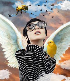 The Beauty of Flight  #collage #digital #model #rezende #marie claire brasil #2013 #wings #canary #birds #clouds #orange sky - Suzette ✨ @bazaart