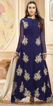 Excellent Blue Georgette Designer Anarkali Suit With Dupatta