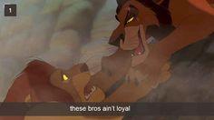 Simba and Scar.  Fabulous Villain Snapchat.