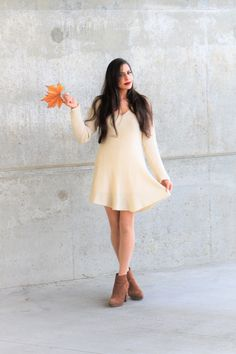 Cafe Au Lait Sweater dress in cream is so cute, cozy and comfy. These long sleeves are perfect for fall, winter and early spring wardrobe fashion. women's fashion dresses. dress with V neck skater cut dress cream white ivory dresses. midi mini collections. @caolineflowers shop www.foreverdolledup.net
