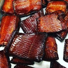 There won't be any leftovers! The smoky-rich tang that comes from your fillets will astound everyone. You and your guests will not be able to stop eating this high-protein, rich in oils delight. You'll find yourself keeping this snappy snack on Smoked Salmon Brine, Smoked Salmon Recipes, Smoked Salmon Candy Recipe, Smoked Trout, Smoked Salmon Jerky Recipe, Smoked Lake Trout Recipe, Best Smoked Salmon, Smoked Salmon Appetizer, Grilling Recipes