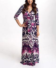 Loving this Purple & Navy Abstract Surplice Maxi Dress on #zulily! #zulilyfinds
