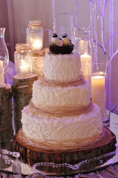 Rustic Wedding Cake..I like the texture...add some pink fresh flowers and our love birds.
