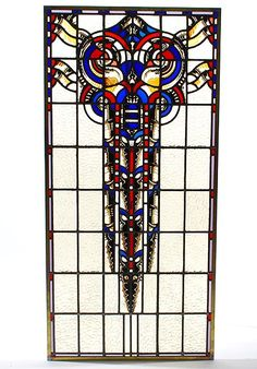 Stained glass panel design execution Willem Bogtman Haarlem / the Netherlands ca.1925