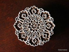 Hand Carved Indian Wood Textile Stamp Block- Round Floral Motif via Etsy