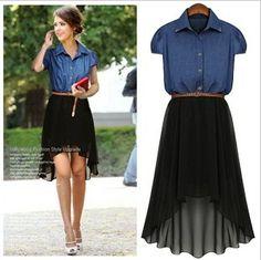 Fashion denim patchwork chiffon skirt slim waist dovetail plus size one-piece dress female