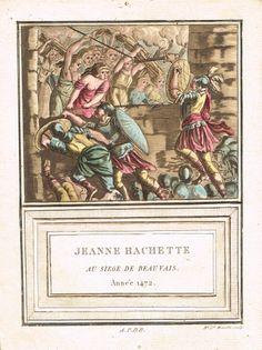 Jeanne Hachette au siège de Beauvais - Règne de Louis XI - Année 1472 - aquatinte par Marie Louise Mixelle - MAS Estampes Anciennes - Antique Prints since 1898