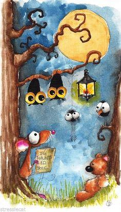 Original watercolor painting art illustration Halloween Mouse teddy spider bats
