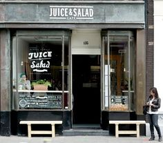 Juice & Salad Café | Amsterdam. Straight to the point! #restaurant #shop #window