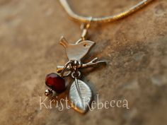 Little Silver Bird Necklace Red Bead Leaf Branch by KristinRebecca