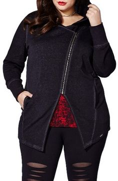 Shop Now - >  https://api.shopstyle.com/action/apiVisitRetailer?id=625943794&pid=uid6996-25233114-59 Plus Size Women's Mblm By Tess Holliday Plum Kitten Asymmterical Zip Hoodie  ...