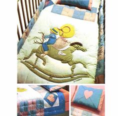 1970s Holly Hobbie Crib Quilt Simplicity 6702 Vintage Sewing Pattern Youth Bed…