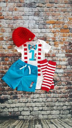 Dr Seuss First Birthday Bow Tie and Suspender Bodysuit, Shorts, Leg Warmers, Button Hat, Boy 1st Birthday Party Little Man Tie, Cake Smash by shopantsypants on Etsy https://www.etsy.com/listing/269759584/dr-seuss-first-birthday-bow-tie-and