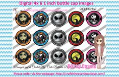 1' Bottle caps (4x6) Digital jack and sally C2167   PLEASE VISIT http://craftinheavenboutique.com/AND USE COUPON CODE thankyou25 FOR 25% OFF YOUR FIRST ORDER OVER $10! #bottlecap #BCI #shrinkydinkimages #bowcenters #hairbows #bowmaking #ironon #printables #printyourself #digitaltransfer #doityourself #transfer #ribbongraphics #ribbon #shirtprint #tshirt #digitalart #diy #digital #graphicdesign please purchase via link http://craftinheavenboutique.com
