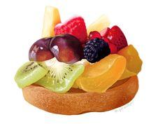 Digital Fruit Tart Illustration