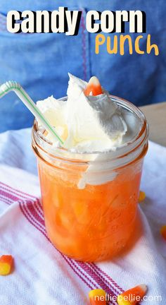 This Candy Corn punch is a fun and easy (only 3 ingredients) Halloween treat that kids will love! A great drink recipe for parties, after-school, or just for a treat.