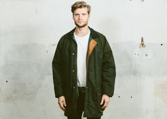 Mens WAXED CANVAS Coat . Vintage Mens Parka Jacket Forest Green Wax Cotton Raglan Sleeves Outerwear 80s . Small Medium Large