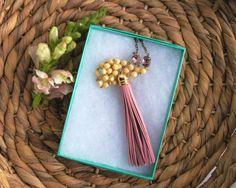 Blush Pink Necklace Leather Tassel Necklace by wildjuniper