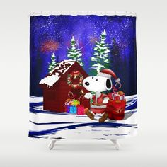 Santa Clause at the DOG world SHOWER CURTAIN #Showercurtain #santa #santaclaus #christmas #blackfriday #mickeymouse #donaldduck #videogames #cat #mouse #mickeymouseclub #dog #snoopydog