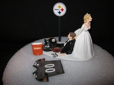 Pittsburgh Steelers Wedding Cake Topper Bride Groom by finsnhorns