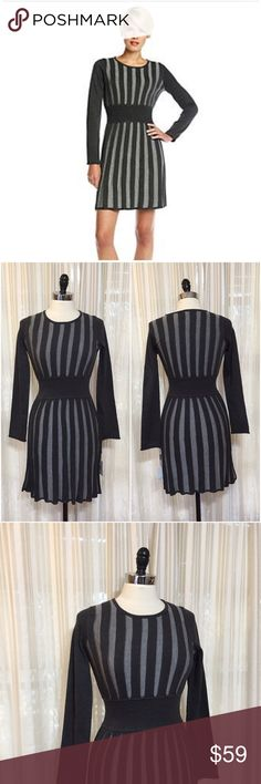 💟Calvin Klein gray Vertical Stripe Sweater Dress Size small. Vertical stripe knit dress with stretchy ribbed waistband. Acrylic, polyester. NWT $118  💟Fast 1-2 day shipping 💟Reasonable offers accepted 💟Purchase 3 or more items & get a special bundle rate!  💟Smoke-free home Calvin Klein Dresses