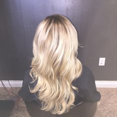 Icy blonde with a shadow root