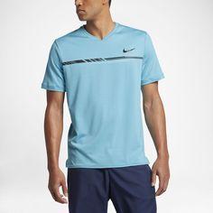 Nike NikeCourt Dry Challenger Men's Short Sleeve Tennis Top Size XL (Blue) - Clearance Sale