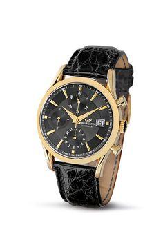 Philip Watch  0 - Reloj de automático para hombre, con correa de cuero, color negro