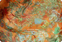 Orange Floral Silk Chiffon Scarf Large Orange Silk by scarfarts