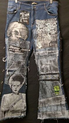 up for sale a custom made pair of mens distressed flared jeans. several patches layered with different distressed fabrics Mode Outfits, Jean Outfits, Custom Clothes, Diy Clothes, Patch Pants, Denim Art, Painted Jeans, Patchwork Jeans, Shoes With Jeans