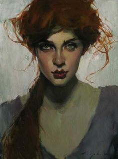 Artist: Malcolm T. Liepke {contemporary artist beautiful female redhead woman face portrait painting} <3 Sultry!!