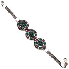Ottoman Handmade Emerald, Ruby Gemstone Sterling Silver Bracelet Fine Jewelry AA #Handmade #Turkish #FathersDayGift Fine Jewelry, Jewellery, Turkish Jewelry, Ruby Gemstone, Sterling Silver Bracelets, Belly Button Rings, Emerald, Ottoman, India
