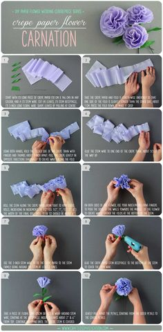 "DIY Crepe Paper Flower Carnations Tutorial. Part of the ""DIY Paper Flower Wedding Centrepiece Series by Crafted to Bloom, Paper Floral Designs (formerly Crafted Sophistication)"""