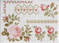 Flor, barra, rosa, ponto cruz