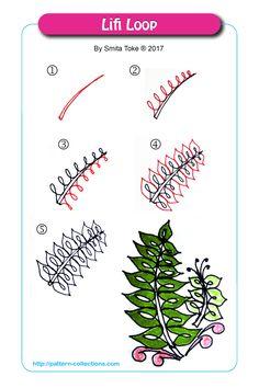 Lifi Loop by Smita Toke Zentangle Drawings, Doodles Zentangles, Doodle Drawings, Easy Drawings, Doodle Art, Tangle Doodle, Tangle Art, Doodle Patterns, Zentangle Patterns