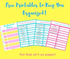 I'm the kind of mom that likes to put sh*t on paper. If I write it down, I'm more likely to retain it. Here are some free printables to keep your everyday expenses on track. I've also put together a weekly meal planner for those busy moms like myself, who love to plan ahead. Put them on the fridge, the office, or a binder. Every month I will be updating my organizer with new freebie's so be sure to subscribe!