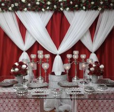 Red and Silver Quinceanera Table Decorations Credit: Are you having a red, white and silver quinceañera party? Check out our planning guide for more inspiration on more RED themed party ideas! Red Party Themes, Red Party Decorations, Casino Theme Parties, Table Decorations, Party Ideas, Casino Party, Drink Bar, Quinceanera Decorations, Quinceanera Party