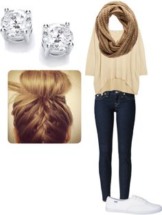 Outfits for School, although I would go with a nude chevron scarf or infinity and some cute navy vans!