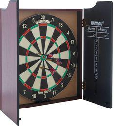 Winmau Dartboard Cabinet and Darts Paper Coil Veneer Effect Scoreboard Games Set