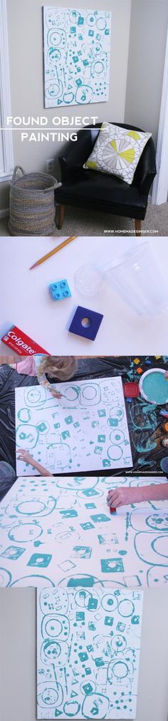 Create a modern art piece with your kids by using objects around the house as stamps!