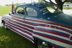 Patriotic Car: This 1948 De Soto was decorated in a very patriotic manner. The car, along with other classic cars, was on view at the Das Dutchman Essenhaus in Middlebury, Indiana.