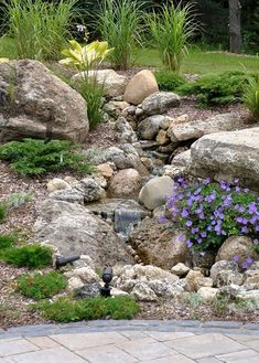 Front Yard Landscaping 50 Super Easy Dry Creek Landscaping Ideas You Can Make! - Images and ideas for backyard landscaping and do it yourself projects to easily create dry creek and river bed designs that dress up your property. Landscaping With Rocks, Front Yard Landscaping, Backyard Landscaping, Backyard Waterfalls, Backyard Ideas, Dry Riverbed Landscaping, Inexpensive Landscaping, Pool Ideas, Backyard Patio